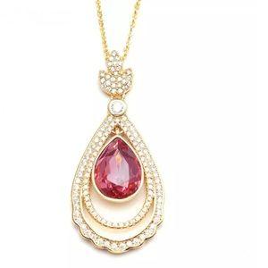 Jewelry - Yellow Gold  Ruby CZ Teardrop Pendant Necklace